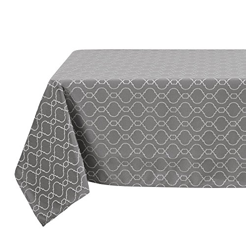 Deconovo Modern Table Cloth Wrinkle Resistant Jacquard Morrocan Table Cover Spillproof Tablecloth for Kitchen 54x72 Inch Dark Grey