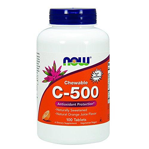 NOW Vitamin C-500 Orange,100 Chewable Lozenges
