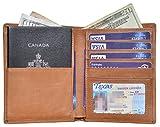 Outrip Genuine Leather Passport Wallet RFID Blocking Travel Card/Passport Holder (Brown)