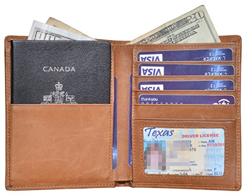 Outrip Genuine Leather Passport Wallet RFID Blocking Travel Card/Passport Holder (Brown) by Outrip