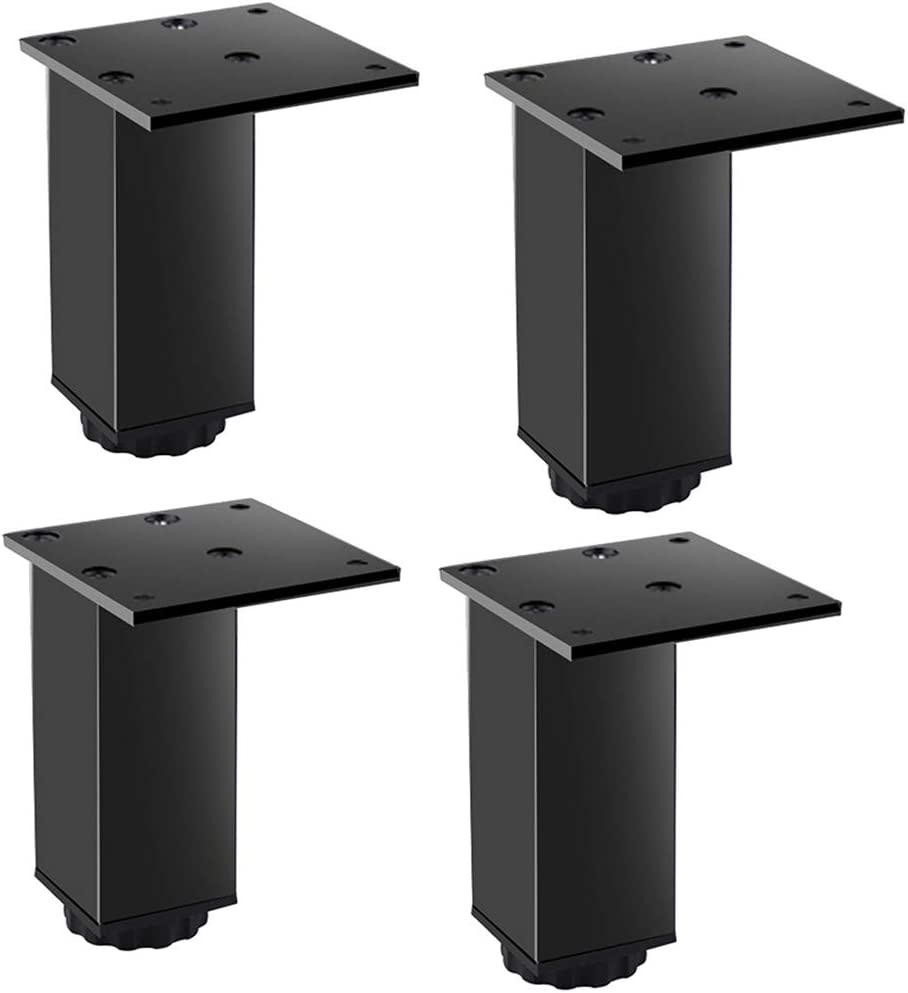 Furniture Cabinet Metal feet Adjustable Stainless Steel Kitchen feet Square Black 80x70mm, with 16 Screws, (4 pcs)