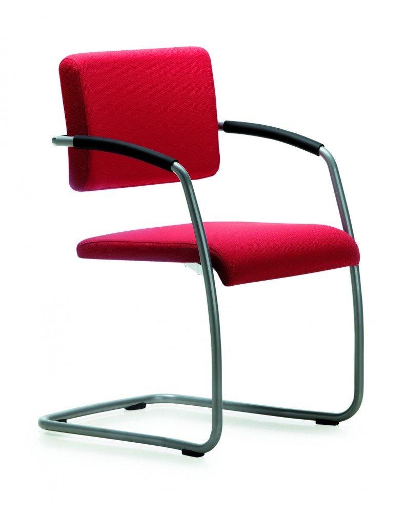 Mayer SitzmÖbel Schwingstuhl Objektstuhl Stapelstuhl ZOOM Gestell perlsilber Sitz--RÜcken gepolstert mit Armlehnen