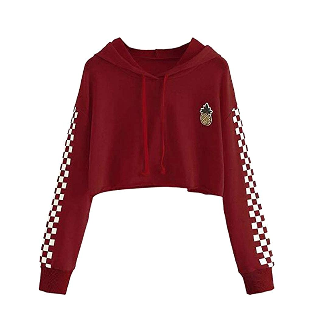 Cromoncent Women Hooded Drawstring Cropped Slim Pullover Print Sweatshirts