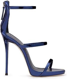 2018 Chaussures pour Femmes PU Printemps Chaussures d'été Sandales Talon Aiguille Bout Rond Zipper pour la Noce et la Robe de soirée (Couleur : Royal Blue, Taille : 45 EU)