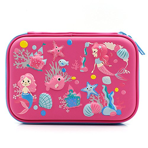 Mermaid Big Capacity Hardtop Pencil Case with Compartment - Cute School Stationery Supply Organizer Box Pen Holder for Kids Girls Toddlers (Hot Pink) by SOOCUTE