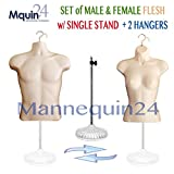 Flesh Mannequin Torsos - Set of Flesh Male + Female (Waist Long) + 2 Hangers + 1 Stand