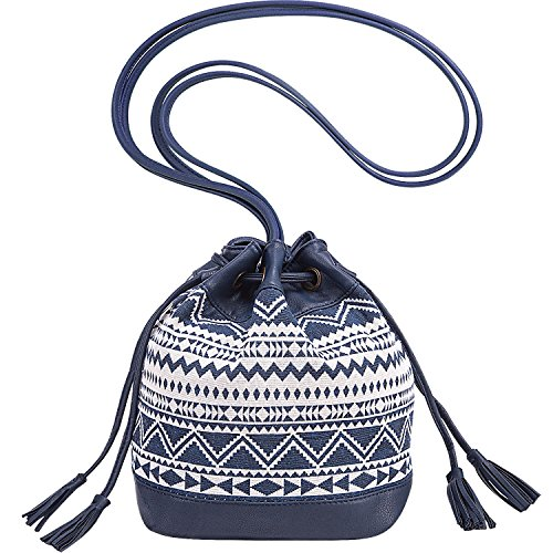 PU Purse Bucket Bag Blue Small Canvas Lily Wave Crossbody Queen Drawstring and qfaFA
