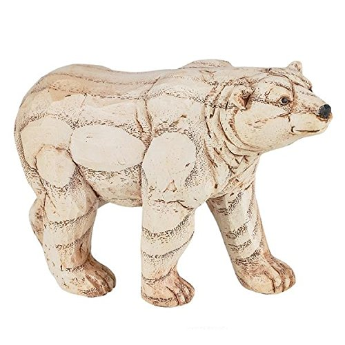 Polar Bear Figurine Faux Wood Rustic Bear Statue