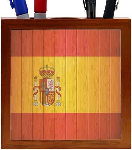 Rikki Knight Spain Flag on Distressed Wood Design 5-Inch Wooden Tile Pen Holder (RK-PH8561) by Rikki Knight