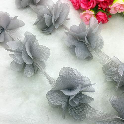 13pcs/1 Yard Flower Chiffon Wedding Dress Bridal Fabric Lace Trim (Pick Item - FD-12)