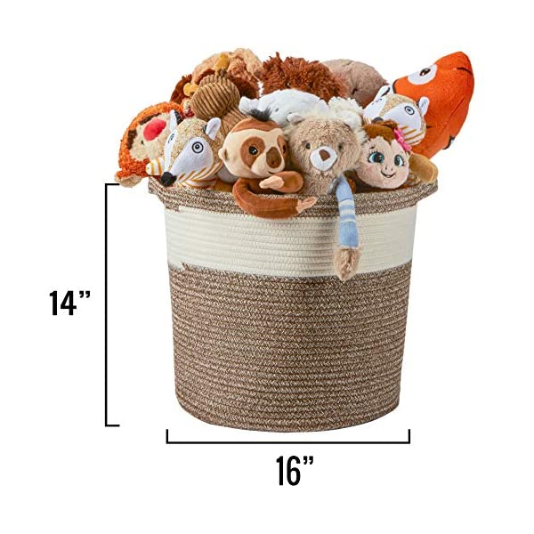 "Medium Cotton Rope Basket – 16""x16""x14"" – Large Woven Basket – Multipurpose Blanket Storage Basket Organizer – Elegant and Modern Design – Ideal for Baby Nursery, Toys, Towels, Laundry Bin"