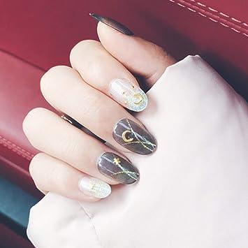 Amazon.com: Edary - 24 uñas postizas de color gris con forma ...