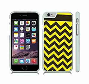 iStar Cases? iPhone 6 Case with Chevron Pattern Black/ Yellow Stripe , Snap-on Cover, Hard Carrying Case (White) by icecream design