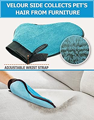 bojun 2-in-1Pet Glove: Grooming Tool + Furniture Pet Hair Remover Mitt - For Cat & Dog - Long & Short Fur - Gentle Deshedding Brush - Rubber Tips for Massage - Your Pet Will Love It