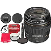 Canon EF 100mm f/2 USM Lens with Elite Optics Commander Pro HD Series Ultra-Violet Protector UV Filter & Circular Polarizer CPL Multi-Coated Filter - International Version