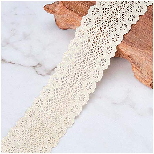 (VU100 Crochet Lace Trim Ribbon Cotton, 1-1/4 Inches Sewing Lace Fabric Trim, for Gift Wrapping Lace Ribbon DIY Craft Wedding Decor(5 Yards, Beige) )