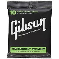 Cuerdas de guitarra acústica Gibson Masterbuilt Premium Phosphor Bronze, Super Ultra Light 10-47