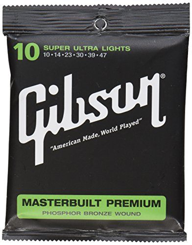 Gibson Masterbuilt Premium Phosphor Bronze Acoustic Guitar Strings, Super Ultra Light 10-47