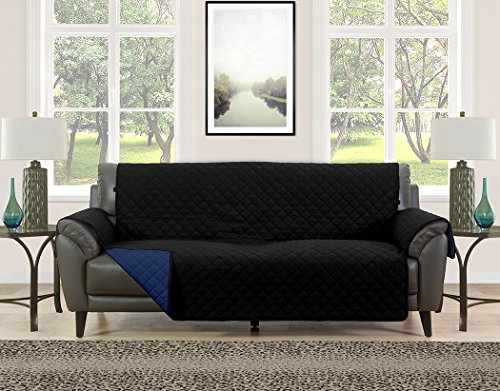 Blissful Living Reversible Non-Slip Couch Cover - Perfect Slipcover to Protect your Furniture from Pets and Kids, Elastic Strap to secure Fit on Couches, Loveseats, & Chairs (Black/Navy, Sofa) by Blissful Living