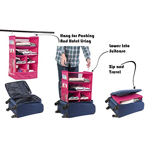Suitcase Organizer | Durable Portable Travel Packing System Hanging Luggage Cube (Pink)