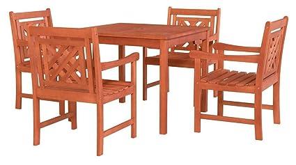 Amazon.com: Vifah Malibu - Juego de comedor para patio (5 ...