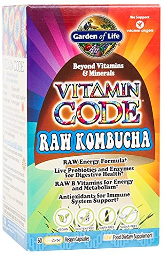 Garden of Lifestyle Vegan Kombucha Supplement - Vitamin Code Raw Dietary Supplement with Probiotics and B Complex, 60 Capsules