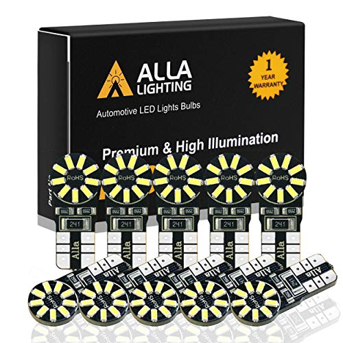 Alla Lighting CANBUS 194 LED Bulb Super Bright 168 175 2825 W5W Bulb 6000K White 3014 SMD 12V T10 LED Replacement Bulbs Car License Plate Interior Map Dome Trunk Door Courtesy Lights Bulbs (Set of 10) (1998 Toyota T100 T10 Led Bulbs)