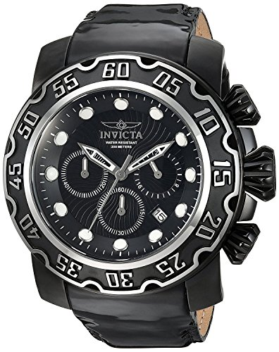 Lupah Leather (Invicta Men's 'Lupah' Quartz Stainless Steel and Leather Casual Watch, Color:Black (Model: 22485))