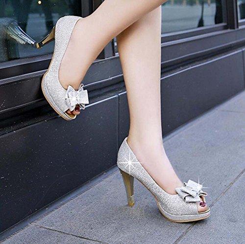Tacones Peep Toe Vestido de Casual Gold Tacones plataforma Boda de Sandalias Plata mujer Black Zapatos Silver tawqHAYn