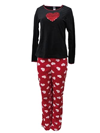1311cd8bb075 Celestial Dreams Womens Red Glitter Heart Pajamas Fleece Pajama Set ...