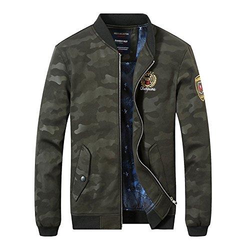 elegante versión hombre del Ejército chaqueta de coreana Chaqueta de camuflaje tendencia adelgazamiento de verde la Hombres chaqueta XXXL del 1O7pqIwaI