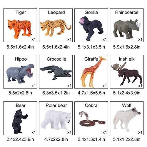 TEPSMIGO Safari Animals Figurines Toys with Activity Play Mat, Animal Toys for Boys Toddlers, Realistic Zoo Toys Safari Figures Plastic Woodland Animals with Tiger, Giraffe, Leopard, Gorilla for Kids