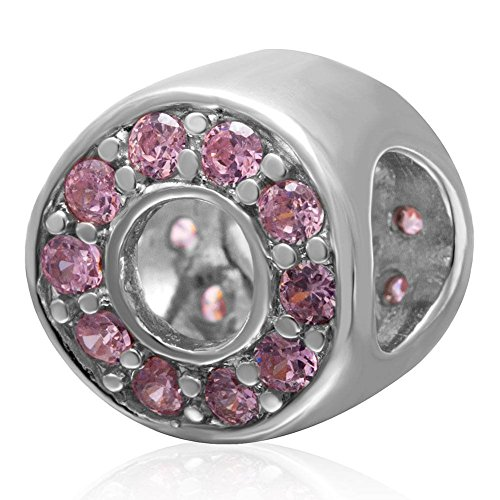 Choruslove Pink Birthstone Circle Charm 925 Sterling Silver Bead for European Style 3mm Bracelet Bangle (Circle Birthstone Charm)