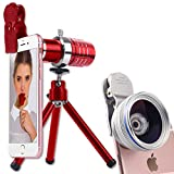 Youniker 3 in 1 Camera Lens Kit,12X Zoom Telephoto Lens+0.45X Wide Angle Lens+12.5X Macro Lens,Clip-on Cell Phone Camera Lens for iPhone 8/7/6 Plus,Samsung,Most Smartphones With Tripod (Red)