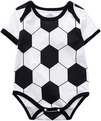 Newborn Baby Girls Bodysuit Short-Sleeve Onesie Soccer Print Rompers Summer Pajamas