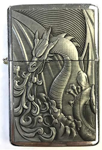 Eclipse Biker Fire Dragon Design Windproof Jet Flame Pocket Torch Lighter, 1880