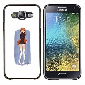 Caucho caso de Shell duro de la cubierta de accesorios de protección BY RAYDREAMMM - Samsung Galaxy E5 E500 - Pintura linda chica