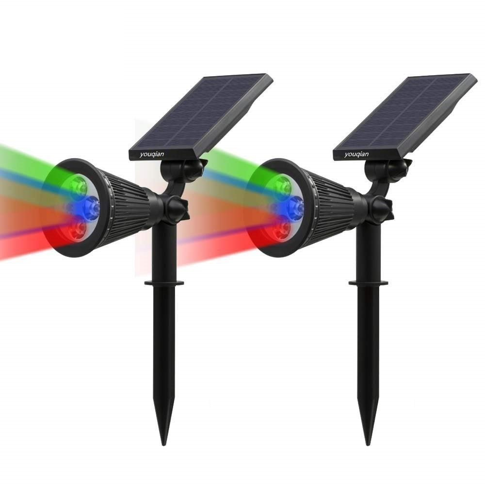 Outdoor Solar Spotlight, Youqian Multi-Colored 4 LED Adjustable Landscape Lighting, Waterproof Soalar Wall Lights Outdoor with Auto On/Off for Driveway Yard Garden (2 Pack, RGB)