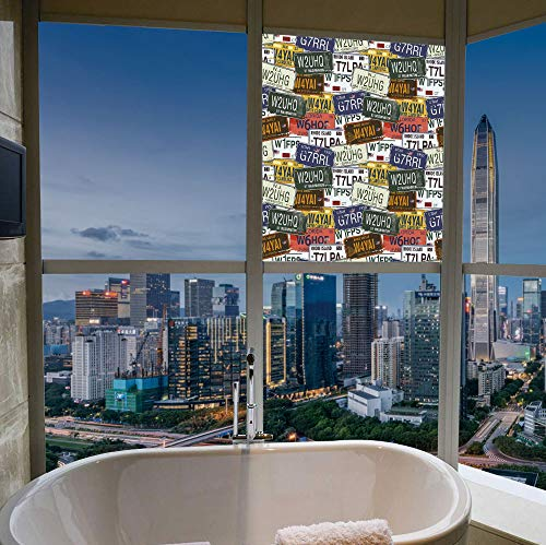 TecBillion Frosted Window Film Stained Glass Window Film,USA,Work Well in The Bathroom,Retro American Auto License Plates Utah Washington Rhode,17''x24'' - Utah Stained Glass