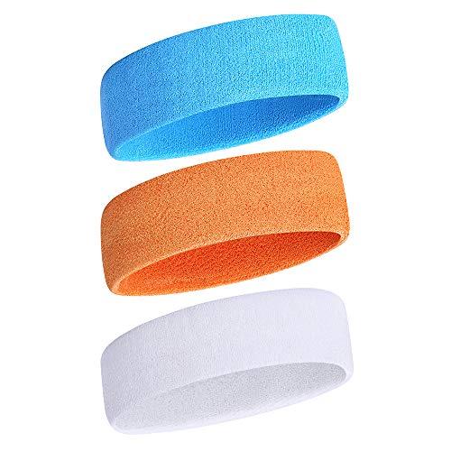 iKsee Sweatbands Headbands for Men/Women,Moisture Wicking Elastic Cotton Terry Cloth Headbands for Gym,Workout, Tennis, Basketball, Running and Working ()