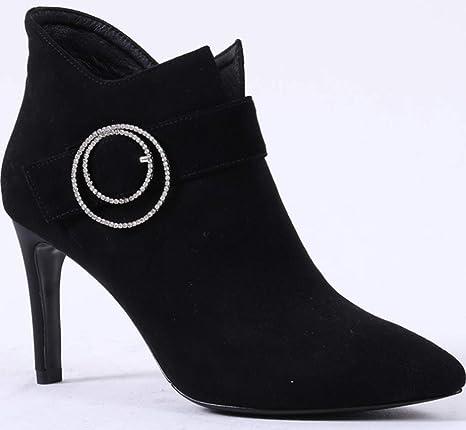 Shiney Zapatos De Mujer Fashion Tacones Altos Botines De Piel De Oveja En Punta Tacones De