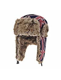 WITHMOONS Ear Flap Cap Bomber Hat Union Jack Beanie Trapper AC7140