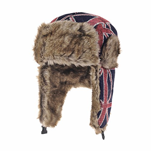 WITHMOONS Ear Flap Cap Bomber Hat Union Jack Beanie Trapper AC7140 (Blue) (Flap Bomber Bag)