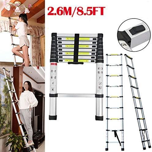 Escalera telescópica recta de aluminio de 2,6 m con capacidad de carga máxima de 150 kg, certificado EN131, ligera, portátil, escalera de ático con patas de goma antideslizantes: Amazon.es: Bricolaje y herramientas
