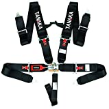 Tanaka SFI 16.1 Latch and Link 5-Point Safety Harness Set with Ultra Comfort Heavy Duty Shoulder Pads (for one seat) (Black)