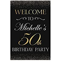 Fifty Anniversary, 50th Birthday Welcome Party Sign Personalized Birthday Banner Custom Names Poster Handmade Party Supply 50th Anniversary Sign, birthday decorations, Wedding sign 36x24, 18x24, 48x36