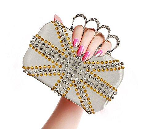 ANNA GRACE - Cartera de mano de piel sintética para mujer Design 1 - Ivory