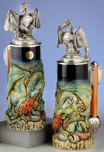 Green Fire Breathing Dragon with Pewter Lid LE German Beer Stein .7L Germany by Pinnacle Peak Trading Company