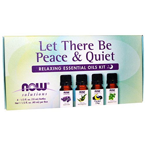 Now Foods, Let There Be Peace & Quiet, Relaxing Essential Oils Kit, 4 Bottles, 1/3 fl oz (10 ml) Each - 2PC ()
