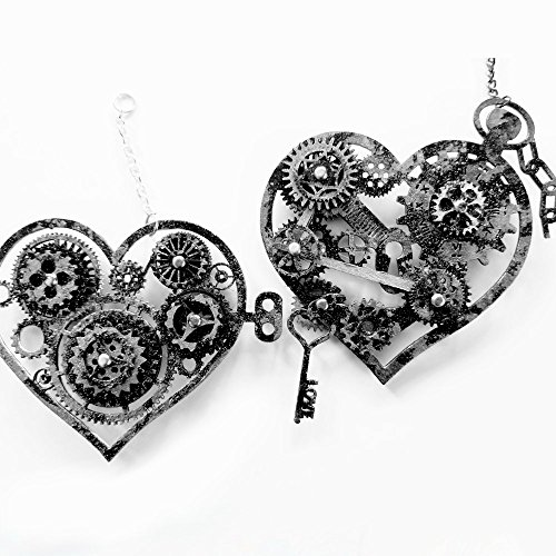 Creative Embellishments Hand Painted Steampunk Hearts Laser Cut Chipboard - 2 Piece Set - Silver ()